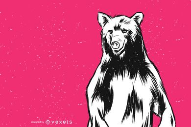 Standing Bear Vector Illustration