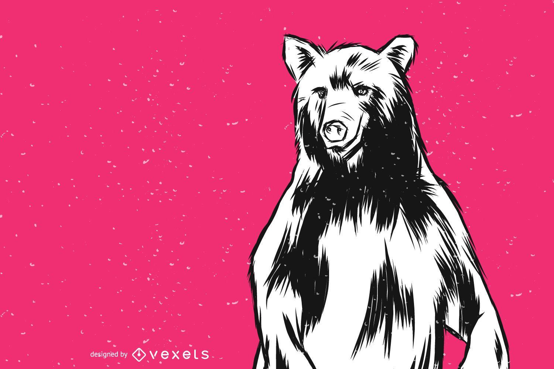 Standing Bear Vector Illustration