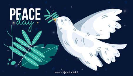 Cartel del pájaro del día de la paz