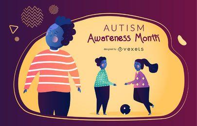 Mes del conocimiento del autismo gráfico vectorial