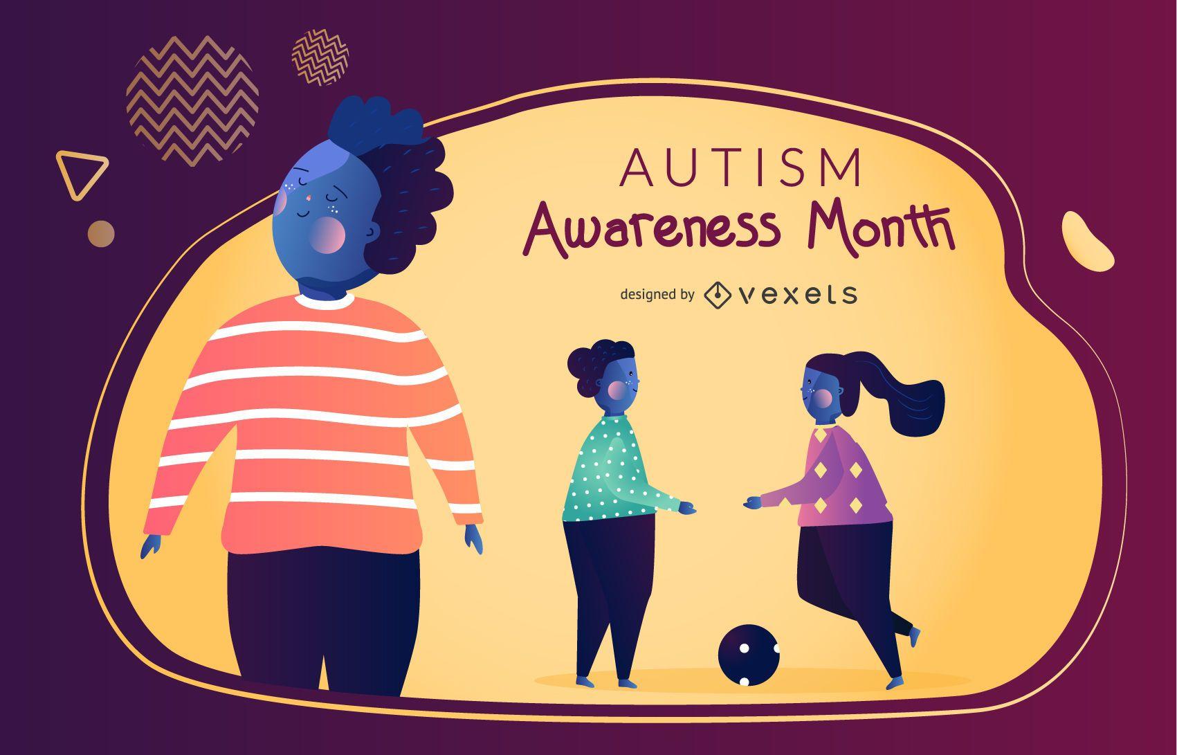 Gráfico vectorial del mes de la conciencia del autismo