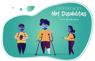Conjunto de vetores de conscientização de deficiência