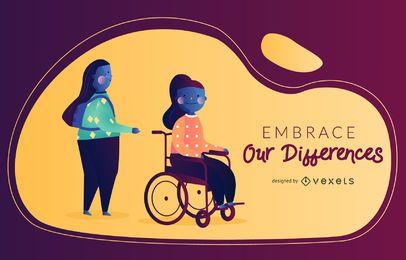 Ilustração vetorial de deficiência