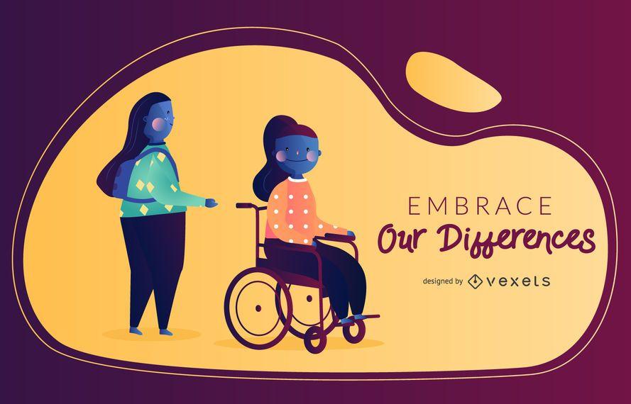 Ilustración vectorial de discapacidad