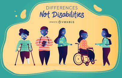 Diferenças não deficiência ilustração