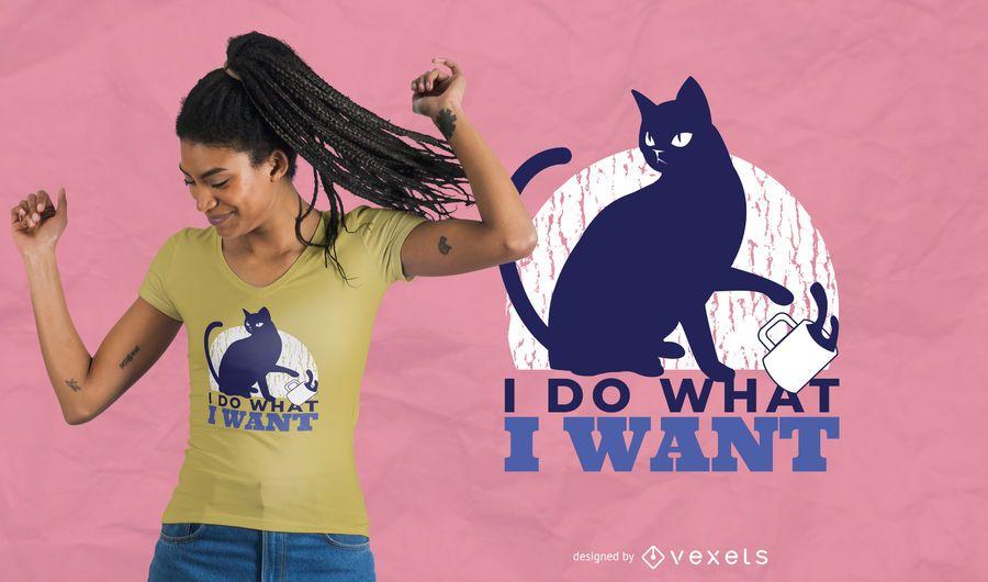 Diseño de camiseta de gato rebelde