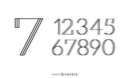Conjunto de diseño de línea de números