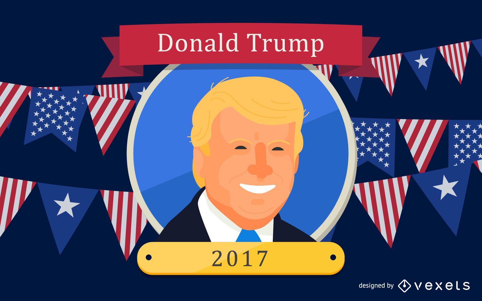 US President Donald Trump Cartoon