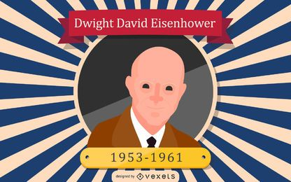 Dwight David Eisenhower Cartoon Illustration