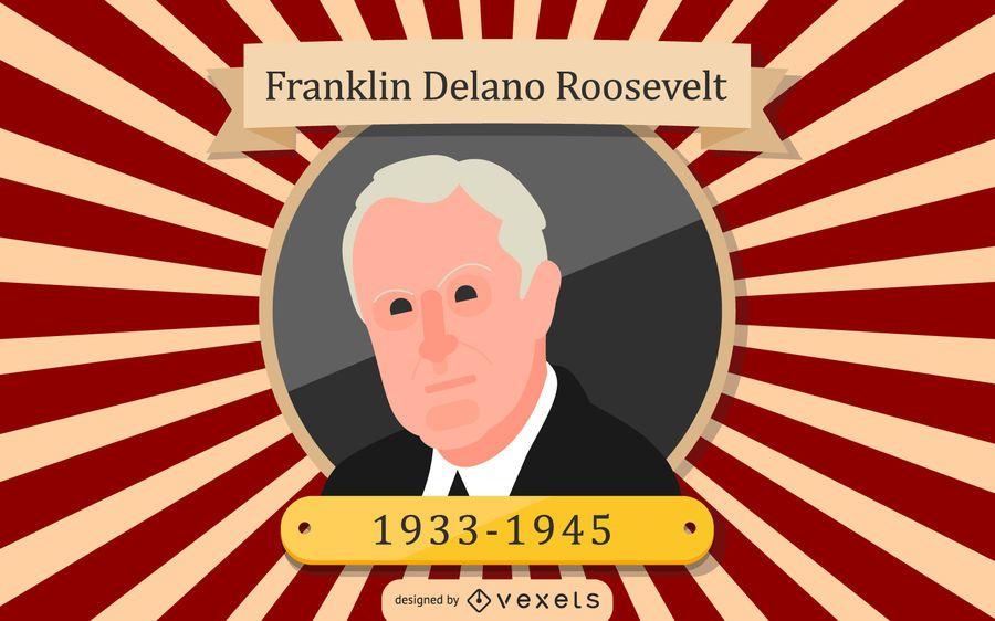 Ilustración de dibujos animados de Franklin Delano Roosevelt