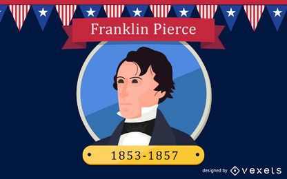 Franklin Pierce Cartoon Illustration