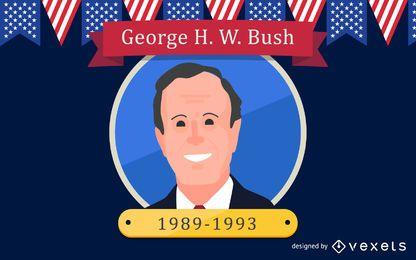 Ilustración de dibujos animados de George HW Bush