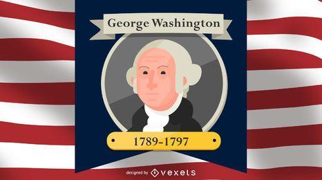 George Washington-Karikatur-Illustration