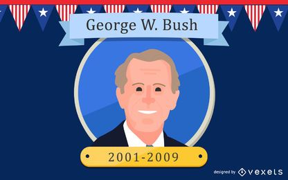 George W. Bush Cartoon Illustration
