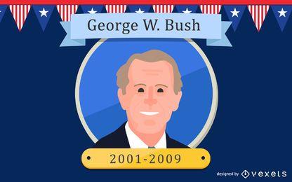Ilustración de dibujos animados de George W. Bush