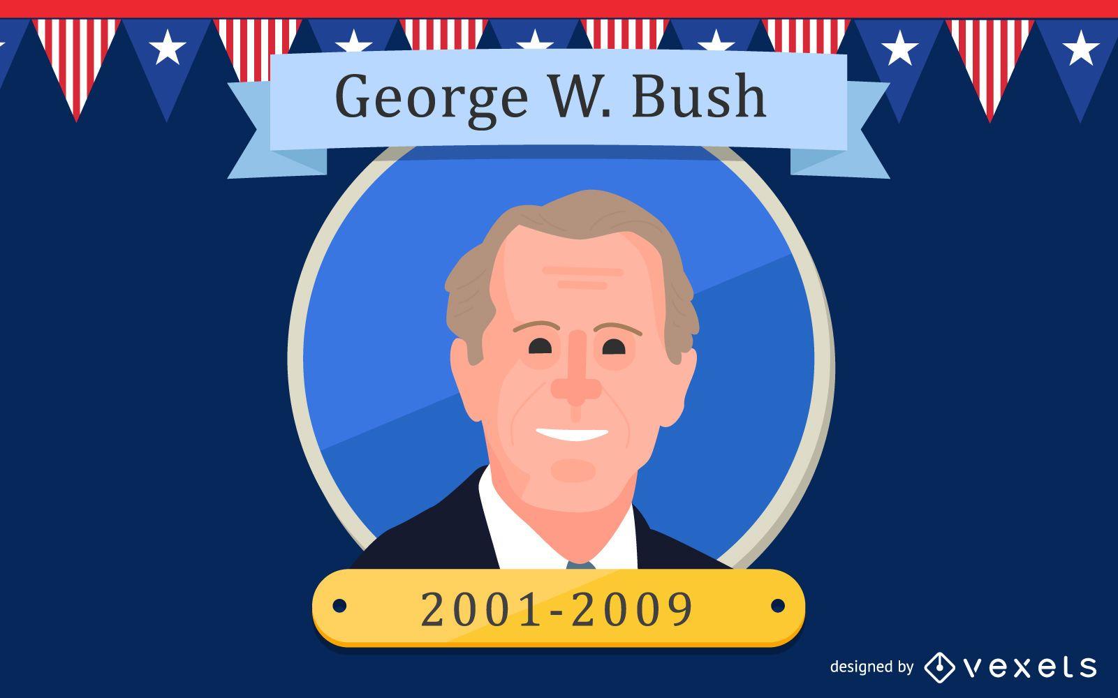 George W. Bush Cartoon Illustration