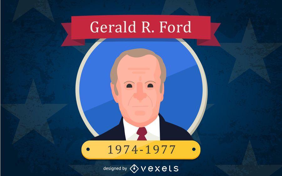 Gerald R. Ford Cartoon Illustration