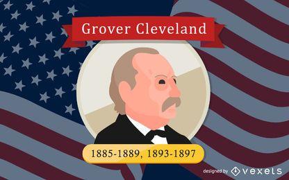 Ilustración de dibujos animados de Grover Cleveland