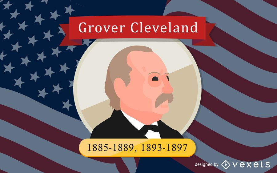 Grover Cleveland Cartoon Illustration