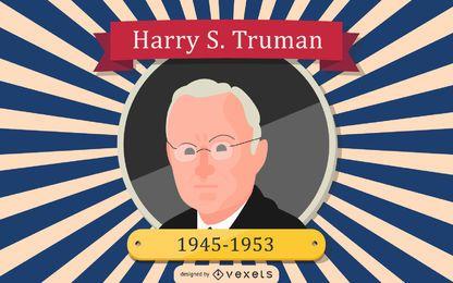 Ilustración de dibujos animados de Harry S. Truman