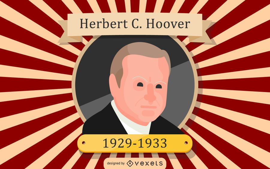 Herbert C. Hoover Cartoon Illustration