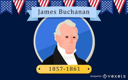 James Buchanan-Karikatur-Illustration