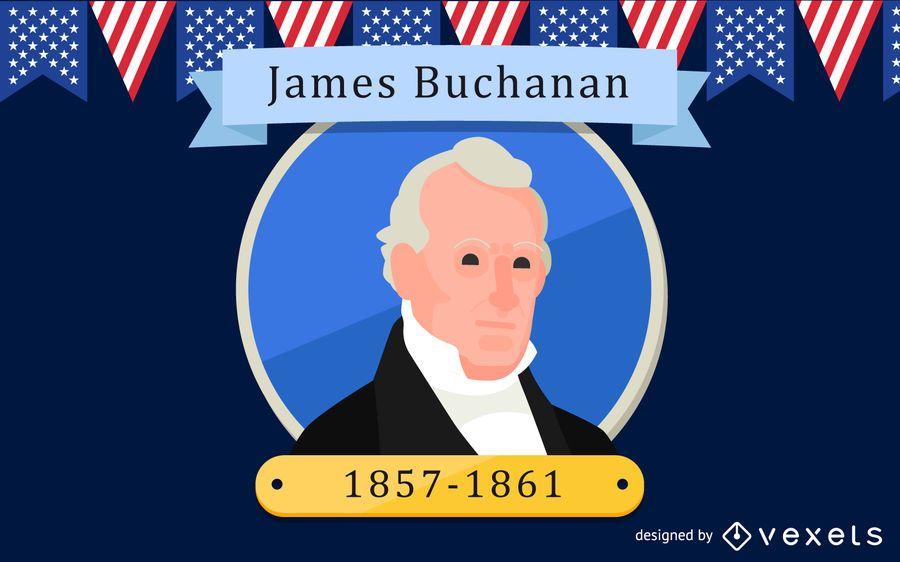 Ilustración de dibujos animados de James Buchanan