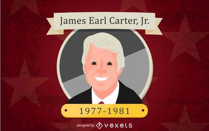 James Earl Carter Jr. Ilustração Dos Desenhos Animados