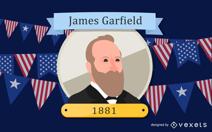 Ilustración de dibujos animados de James Garfield