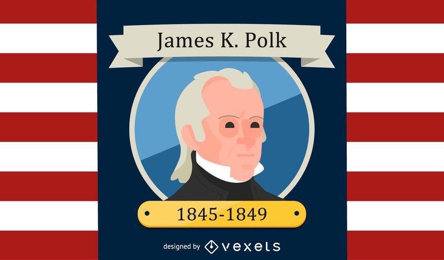 Ilustración de dibujos animados de James K. Polk