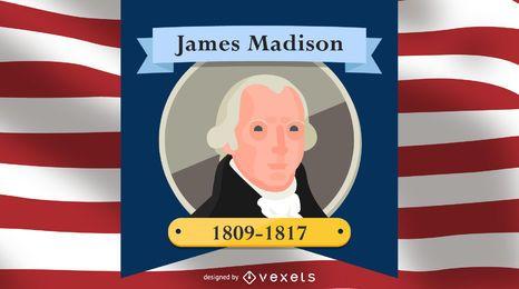Ilustração dos desenhos animados de James Madison