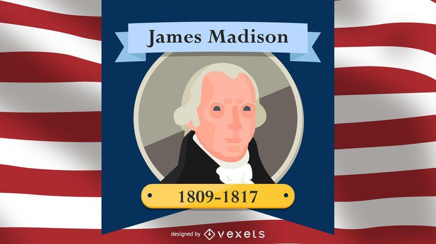 James Madison Cartoon Illustration