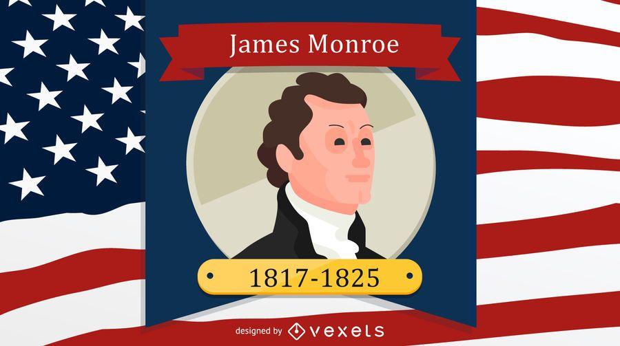 James Monroe Cartoon Illustration