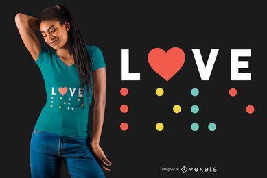 Amo o projeto do t-shirt de Braile