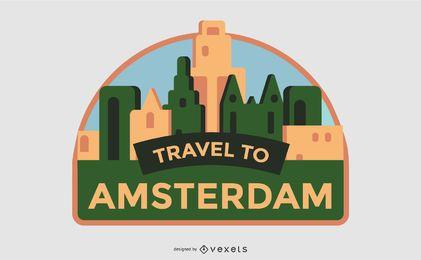 Reisen Sie nach Amsterdam Label Design