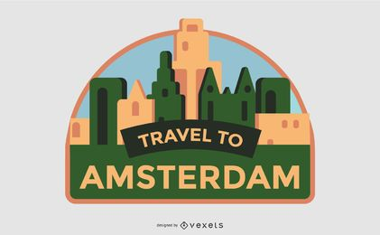 Travel to Amsterdam Label Design