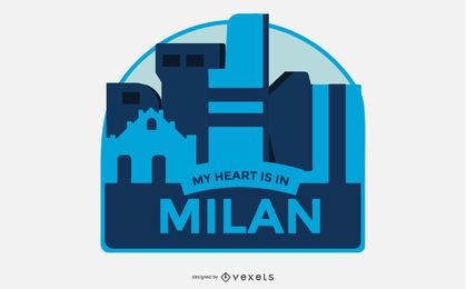 Milan Travel Badge Vector Design