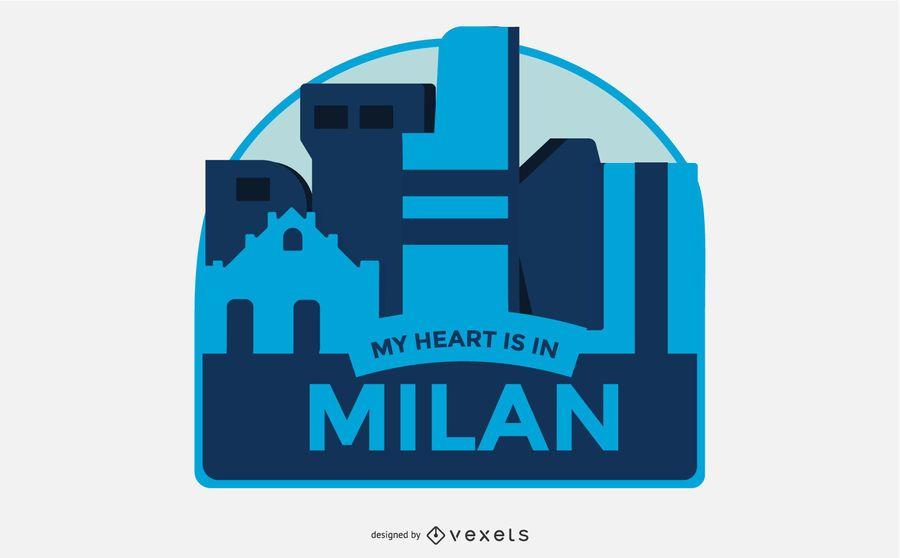 Milan Travel Badge Vector Design