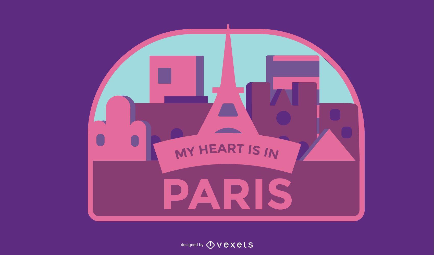 Paris Travel Badge Vector Design