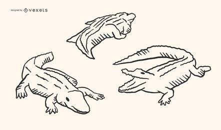Diseño de Doodle de cocodrilo