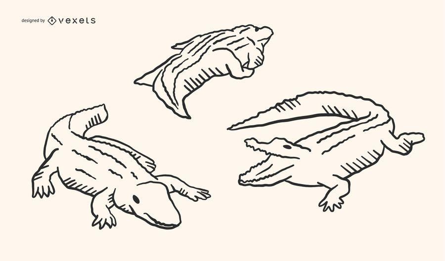 Jacaré Doodle Design