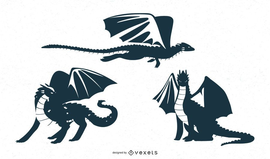 Dragon designs silhouettes