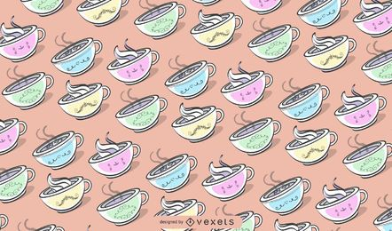 colorful coffee mugs pattern