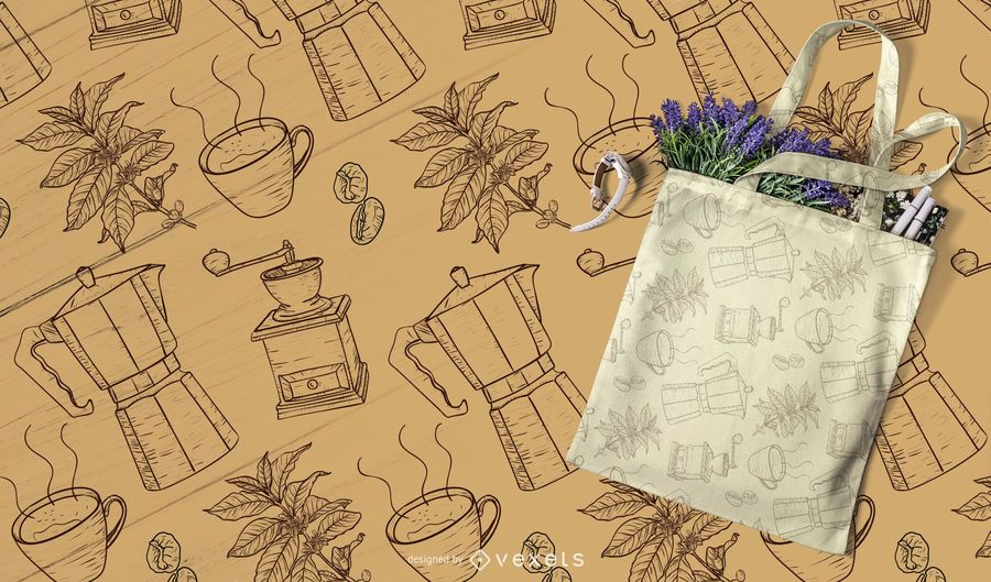 hand drawn coffee pattern desing