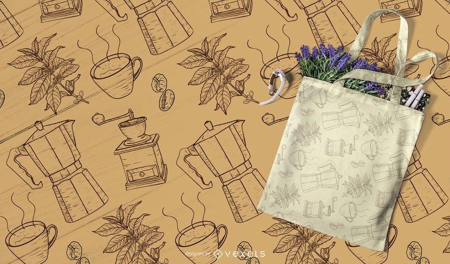 handgezeichnete Kaffee Muster desing