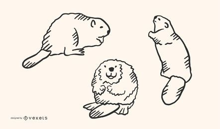 Beaver Doodle Vector Set