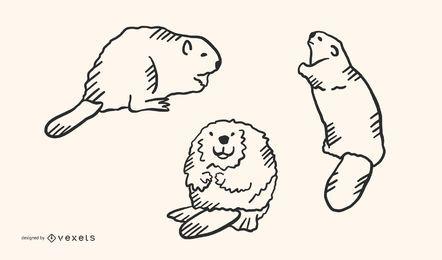Conjunto de vectores de Doodle de castor