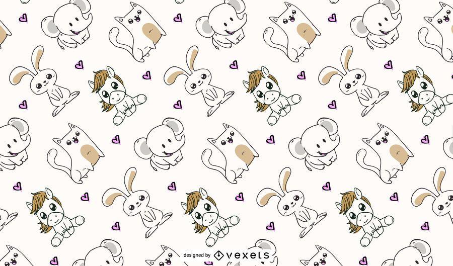 design de padrão de animais fofos