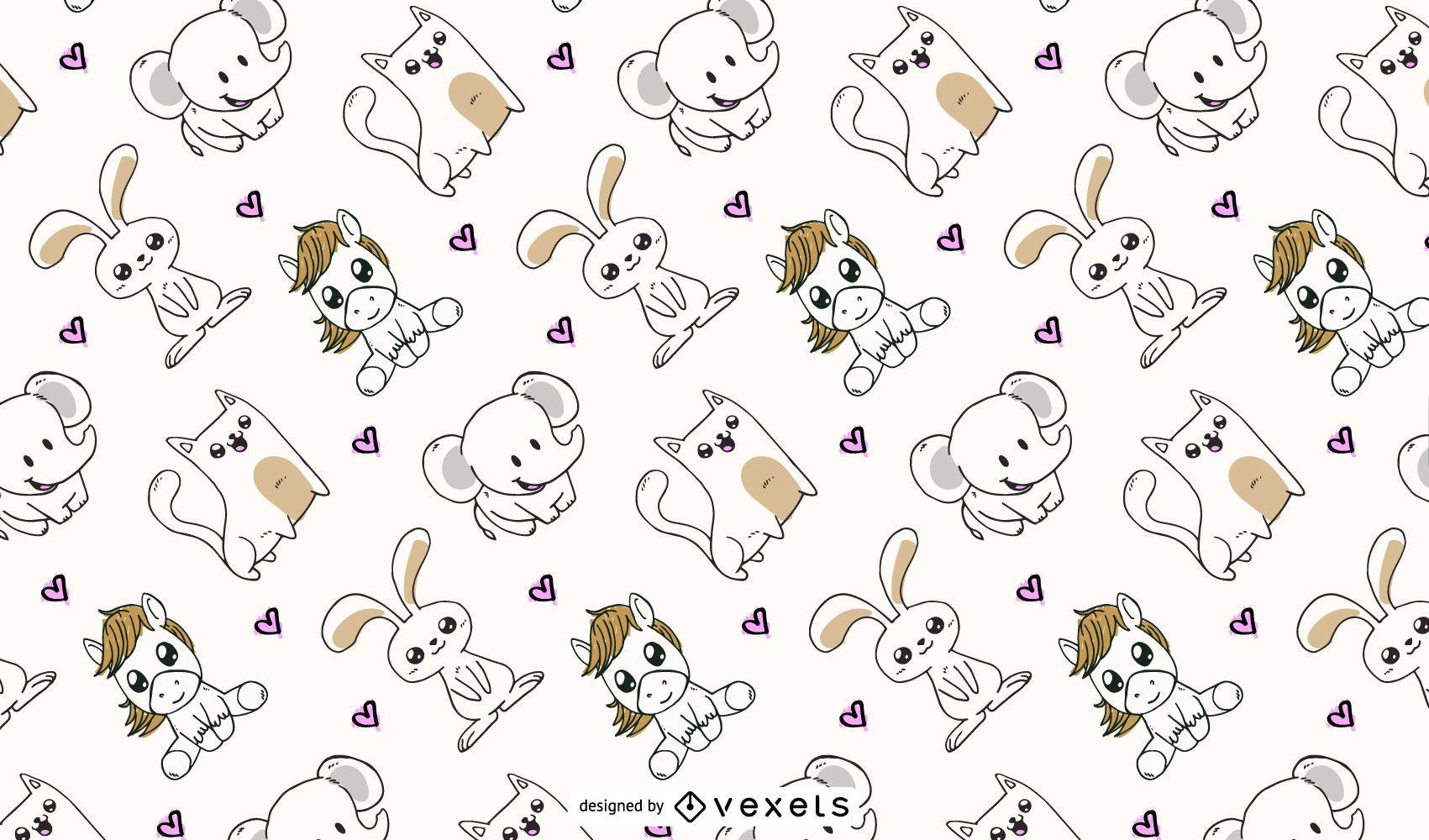 diseño de patrón de animales lindos