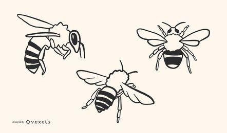Diseño de vectores de abeja garabato